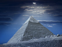 Chefren's pyramid at night Royalty Free Stock Image