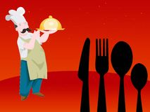 Chefs. With food on abstract background Royalty Free Stock Photos