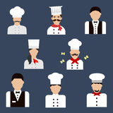 Chefs, bakers and waiters flat avatar icons Royalty Free Stock Photo