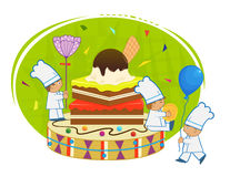 Chefs With Brownie. Three small chefs are holding flower, balloon and cymbals, decorating a two leveled brownie with frosting and a ball of ice cream at the top Stock Images