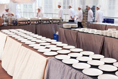 Chefs in Buffet Setting Stock Photos