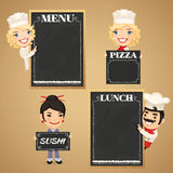 Chefs Cartoon Characters with Chalkboard Menu. In the EPS file, each element is grouped separately. Clipping paths included in additional jpg format royalty free illustration