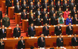 Chefs chinois supérieurs assistant à la réunion du parlement Photos stock