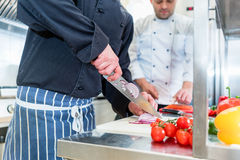 Chefs cooking and cutting vegetables and tomatoes Stock Image