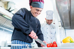 Chefs cooking and cutting vegetables and tomatoes. In restaurant or hotel kitchen Stock Photography