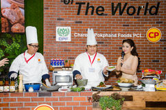 Chefs are cooking demonstrations to visitors in during exhibitio. NONTHABURI - MAY 25 : Chefs are cooking demonstrations to visitors in during exhibition of Royalty Free Stock Photography