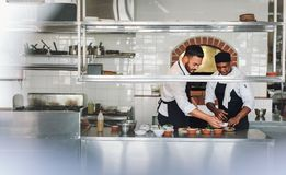 Chefs cooking food at commercial kitchen. Professional chefs working in commercial kitchen preparing food dish together. Chefs cooking food at commercial kitchen Royalty Free Stock Images