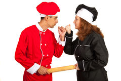 Chefs couple arguing Royalty Free Stock Photography