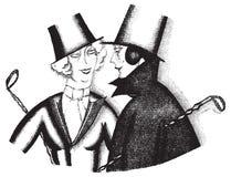 Chefs d'anneau des années 1920 de la mode des femmes d'aileron de noir et de whilte illustration libre de droits