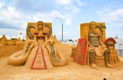 Chefs d'oeuvre de culture italienne Exposition des sculptures en sable Photographie stock