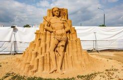 Chefs d'oeuvre de culture italienne Exposition des sculptures en sable Photos stock