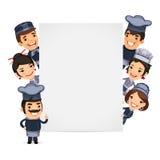Chefs, die leere vertikale Fahne darstellen Stockbilder