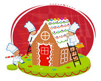 Chefs and Gingerbread house Stock Image