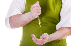 Chefs  hands with flour Stock Images