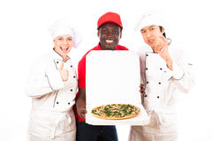 Chefs Are Happy With Pizza Service royalty free stock images