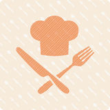 Chefs hat with knife and fork. Vector emblem hat chef with fork and knife on the kitchen dining background Stock Image