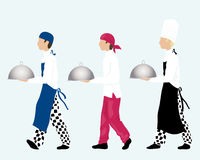 Chefs. An illustration of three chefs carrying trays dressed in different styles of work wear on an ice blue background Royalty Free Stock Photography