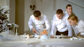 Chefs improve the dish disposition and decoration stock video