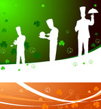 Chefs on irsh clover leaf background Royalty Free Stock Image