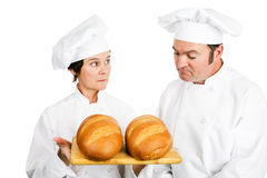 Chefs with Italian Bread. One baker evaluates another baker's fresh Italian bread. Isolated on white royalty free stock image