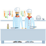 Chefs in kitchen. Illustration of two chefs in a kitchen with colorful cooking implements, pots and pans on white background Royalty Free Stock Photos