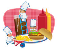 Chefs Making Burger Stock Photography