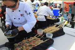 Chefs from many restaurants getting ready for Encinitas Foodie Fest, Lumberyard, California, 2016 Royalty Free Stock Images