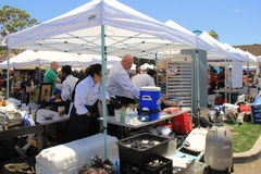 Chefs from many restaurants getting ready for Encinitas Foodie Fest, Lumberyard, California, 2016 Stock Photography