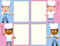 Chefs and Menu. Four chef kids with a blank menu. Eps file available royalty free illustration