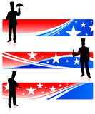 Chefs with patriotic banners Stock Photo