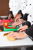 Chefs preparing food. Professional chefs preparing food in commercial kitchen Stock Photos