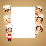 Chefs Presenting Empty Vertical Banner Royalty Free Stock Photos