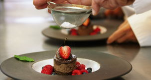 Chefs putting finishing touch on desserts stock video footage