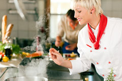 Chefs in a restaurant or hotel kitchen cooking. Two chefs in teamwork - man and woman - in a restaurant or hotel kitchen cooking delicious food Royalty Free Stock Image