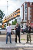 Chefs russes d'une réunion politique de SIGNE D'ASSENTIMENT à Oufa Photo stock