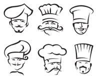 Chefs set. Monochrome illustration of six chefs Stock Images
