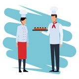 Chefs with snacks. Chefs offering snacks to people cartoon vector illustration graphic design stock illustration