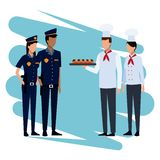 Chefs with snacks. Chefs offering snacks to police officers cartoon vector illustration graphic design stock illustration