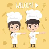 Cute chef boy and girl welcome stock illustration