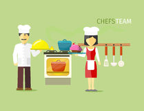 Chefs Team People Group Flat Style Stockbilder