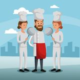 Chefs teamwork at city. Vector illustration graphic design Royalty Free Stock Photos