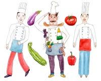Chefs und Gemüse auf Weiß Stockfoto
