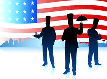 Chefs on United States flag background Stock Image