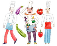 Chefs and vegetables on white. Set of chefs and vegetables - watercolor painting on white background Stock Photo
