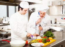 Chefs at work. Chefs preparing a dish in a commercial kitchen Royalty Free Stock Photography