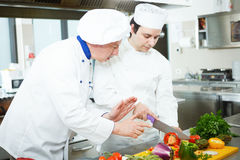 Chefs at work. Chefs preparing a dish in a commercial kitchen Royalty Free Stock Photo
