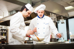 Chefs at work. Chefs preparing a dish in a commercial kitchen Stock Photography
