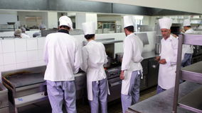 Chefs at work in a busy kitchen stock footage