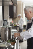 Chefs Working In Commercial Kitchen royalty free stock photography
