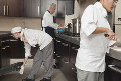 Chefs Working Together In Commercial Kitchen stock photo